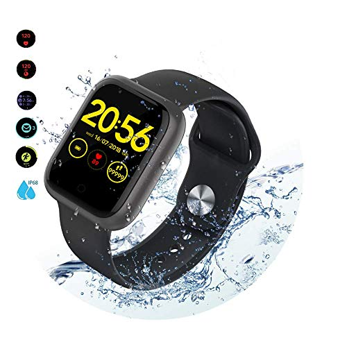 RELEE Smart Watch IP68 Waterproof Smartwatches Fitness Tracker with Heart Rate Monitor Step Counter Message Reminder 1.3' Touch Screen, Sleep Tracker for Android and iOS Phone for Women Men