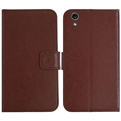 TienJueShi Brown Flip Book-Style Brief Leder Tasche Schutz Hulle Handy Hülle Abdeckung Fall Wallet Cover Etui Skin Fur MEDION Life S5504 MD 99905 5.5 inch