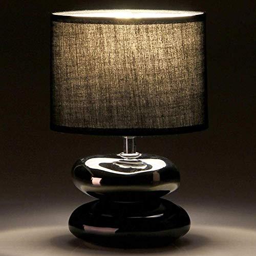 Bakaji Lampada da tavolo Luce Lampadina E14 Max 40W Base 2 Pietre in Ceramica Nero Silver Paralume in Tessuto Lume Comodino Camera da Letto Abatjour Design Moderno Dimensione 24 x 17 x 10,5 cm