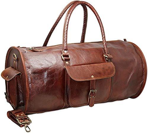 HG-LTHR 60 cm Leather Duffle Bag Travel Carry-On Waterproof Luggage Overnight Gym Weekender Bag