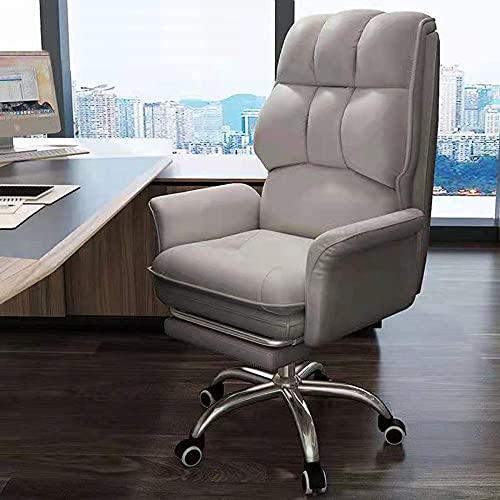 Sedia da gaming da scrivania per computer da corsa, sedia da ufficio con schienale alto, girevole, con poggiapiedi retrattile e supporto lombare regolabile, grigio