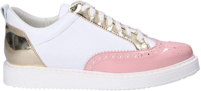 L4K3 Women's DERBY41 White Leather Sneakers