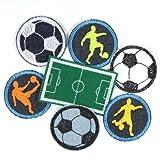 Bügelflicken Fußballer Paket 7 Flicken zum aufbügeln 5cm ø Fußball Bügelbild 4,7 x 7 cm Fußballplatz Aufbügler Fanartikel Accessoires für Kinder und Erwachsene