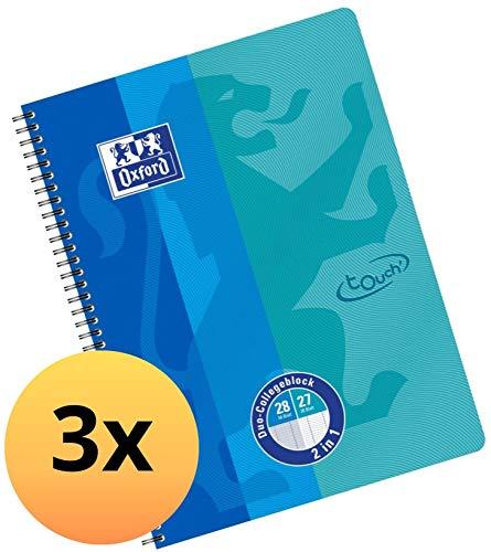 Oxford DUO Collegeblock A4 kariert und liniert kombiniert in einem Block, blau, 3er Pack