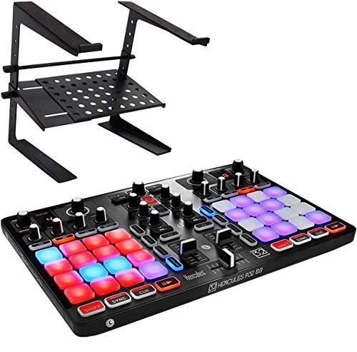 Hercules P32 DJ Controller Mixer + keepdrum HA-LS20 laptopstandaard
