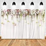 Avezano 2.1*1.5m Fondo de cortina blanca Flores rosadas Telón de fondo del día de San Valentín Despedida de soltera Fondo de foto de bebé recién nacido Fondo de fotografía de boda