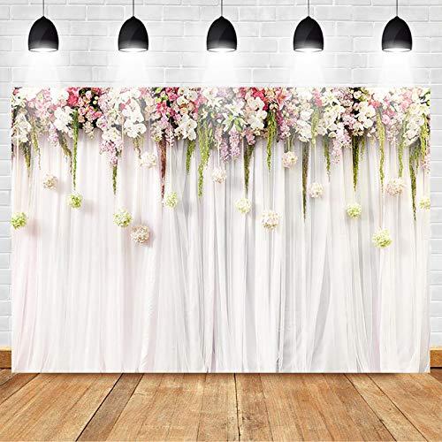 Avezano 2.1*1.5m Fondo de cortina blanca Flores rosadas Telón de fondo del...