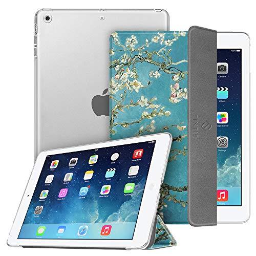 Fintie Funda para iPad Air (2013) / iPad Air 2 (2014) - Trasera Transparente Mate Carcasa Ligera con Función de Soporte y Auto-Reposo/Activación, Flores