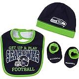 NFL Seattle Seahawks Unisex-Baby Cap, Bootie & Bib Set, Blue, 0-6 Months