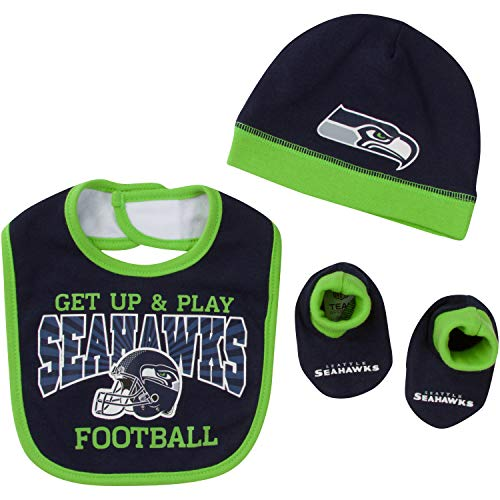 Navy Blue NFL Team Apparel Seattle Seahawks Football Infant One Piece Size 0-3 Months Bodysuit