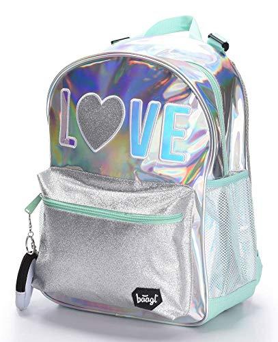 Baagl Glitzer Schulrucksack für Mädchen - Holo Rucksack Mädchen Teenager - Coole Schultasche für Kinder Jugendliche (Holo)