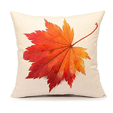 4TH Emotion Autumn Maple Leaf Fall Home Decor Design Throw Pillow Cover Pillow Case 18 x 18 Inch Cotton Linen for Sofa (7)