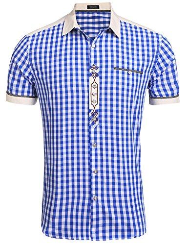 COOFANDY Trachtenhemd Herren Hemd Kariert Oktoberfest Cargohemd Baumwolle Freizeit Hemden Super Qualität- Gr. L, Kurz-Blau