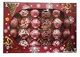 SZ 24 Piezas Bolas de Navidad de 6 cm, Adornos Navideños para Árbol, Decoración de Bolas de Navidad Inastillable Plástico, Regalos de Colgantes de Navidad (Oro Rosa)