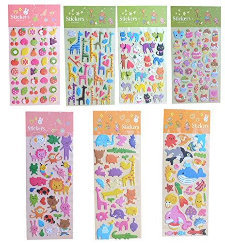 Yansanido 7 Sheet Animal Fruit Bread 3D Adhesive Sticker for Kids Girls Craft Scrapbooking (7 Sheet Animal Fruit Bread)