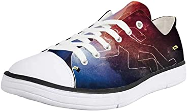 Canvas Sneaker Low Top Shoes,Murder Scene Yellow Tapes Do Not Cross Cordoned Off Area Forensic Science Warning