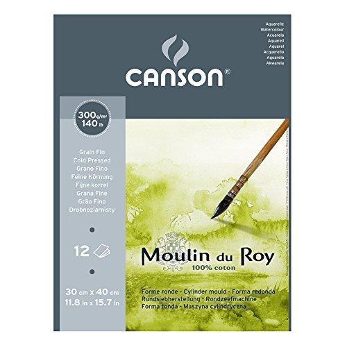 Canson Moulin du Roy - Bloc papel de acuarela, 30 x 40 cm, color blanco natural