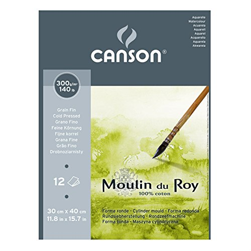 Canson Moulin du Roy - Bloc papel de acuarela, 30 x 40 cm, color blanco natural