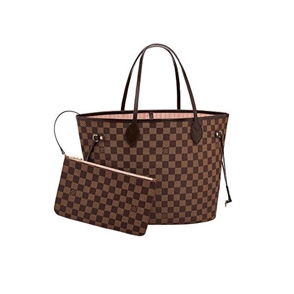 Fashion Shopping Louis Vuitton Damier Canvas Neverfull MM Rose Shoulder Handbag Article: N41603 Made