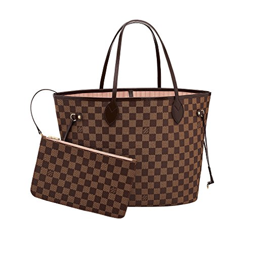 Louis Vuitton Damier Canvas Neverfull MM Rose Shoulder Handbag Article: N41603 Made in France