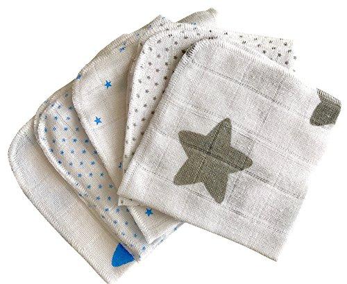 Babymajawelt® Baby Mull Waschlappen Premium, Stoff Weich, Baumwolle 5er710er-Sets, Allzwecktücher, Waschlappen für Babypflege & Co. (Stars grau-blau 25x25cm (5er Set))
