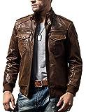 FLAVOR Men Biker Retro Brown Leather Motorcycle Jacket Genuine Leather Jacket (X-Large(US Standard), Brown) from
