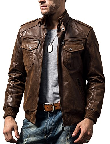 FLAVOR Men Biker Retro Brown Leather Motorcycle Jacket Genuine Leather Jacket (Medium(US Standard), Brown)