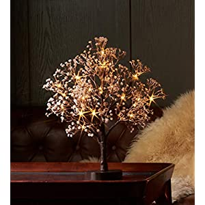 Hairui Lighted Gypsophila Tree 18 Inch 30 LED Battery Operated Artificial Baby Breath Flowers with Lights for Wedding Party Holiday Decoration