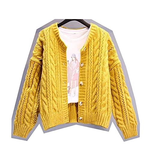 CharlieRGill Suéter de punto grueso con hilo torcido para mujer, chaqueta de ropa gruesa y floja de viento perezoso exterior suéter de punto rojo_Talla única