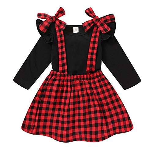 Toddler Baby Little Girl Halloween Clothes Pumpkin Printed Long Sleeve T Shirt Top Plaid Suspender Skirt Overall Outfits Set (Red Plaid, 18-24 Months)