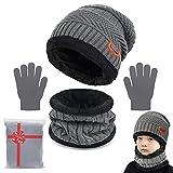 Yutdeng Beanie Sciarpa e Guanti Bambino Cappello Sciarpa Inverno Cappelli Invernali Bambino Natale Regalo per Bambini 3-10 Anni