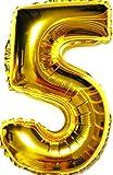SauParty XL 70cm sin Globo de Helio ! Globo de Plástico Oro Número 5 Pagar Regalo de Cumpleaños