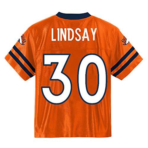 Outerstuff Phillip Lindsay Denver Broncos Orange Youth Player Home Jersey (Medium 10/12)