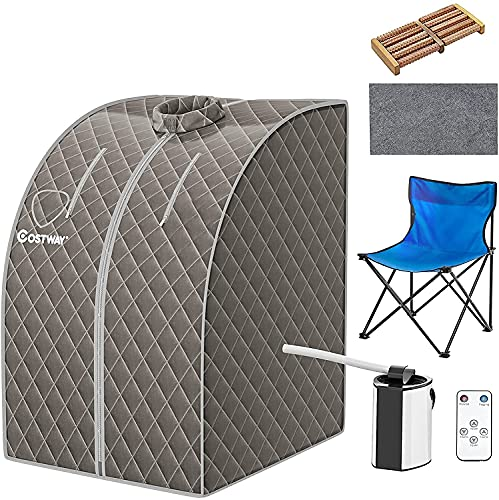 COSTWAY Home Steam Sauna, 9 Levels Temperature Adjustable Personal Spa Box...