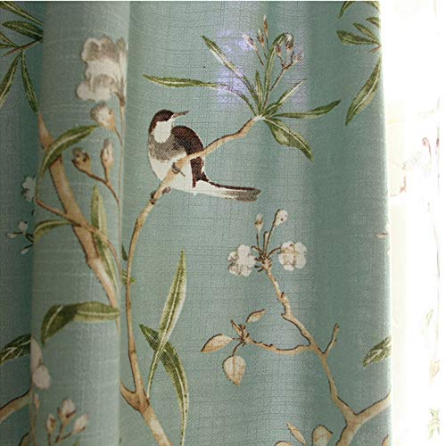 Blue Country Curtains for Living Room Semi Blackout Curtain Birds Floral Printed Grommet Drapes 96 Inches Long Half Room Darkening Cotton Linen Blend Curtains with Eyelet , 1 Panel W39 x L96 inch