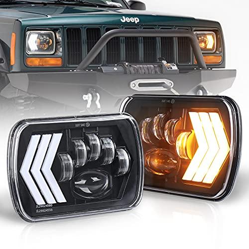 MOVOTOR 7x6 Led Headlights 5x7 Seam Beam with White DRL Amber Background & SequentialTurn Signal Lightfor Cherokee XJ Wrangler YJ Toyota GMC Truck