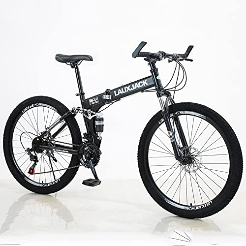 RUIXFEC 26' Unisex Wheel, W 21 Speeds | All-Terrain Bicycle With Front Suspension Dual Disc Brake, Road Bicycle, City Bike, Collapsible Adult Mountain Bike, High-Carbon Steel Frame, Adjustable Seat