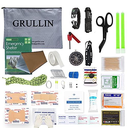 GRULLIN Kit di sopravvivenza di emergenza Ricarica IFAK, forniture di pronto soccorso per auto traumi da campeggio personali, attrezzatura da escursionismo EDC, gadget tattici militari per uomini