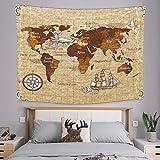 onetoze Tapiz Mapa del Mundo Tapiz Decoración Retro Colgante de Pared Tapices de Pared Hippie Decoración para Pared y Habitación Dormitorio Salon Sala de Estar, 130x150cm