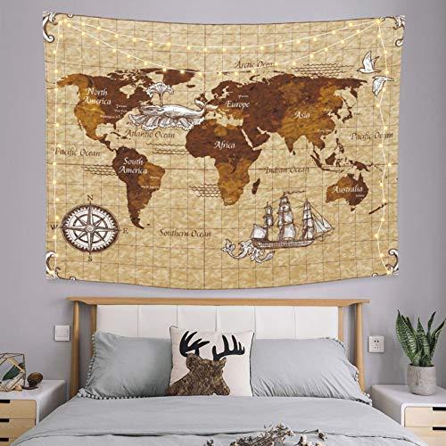 onetoze Tapisserie Carte du Monde Tapisserie Murale Indien Hippie Bohème Tenture Murale Tapisserie Art Mural pour Chambre Salon Dortoir Tissu Décor à la Maison Yoga Tapis, 130x150cm