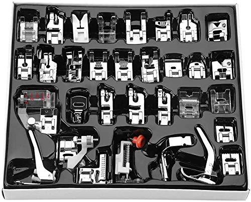 32 PC Naehfuesse Nähfüße Nähfuß Nähmaschine Set Zubehör für Brother, Singer, Janome, JUKI, AEG, Low Shank Nähmaschine