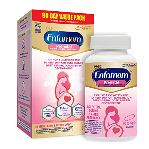 Enfamom Prenatal Vitamins, Omega-3 DHA + Folate + Calcium Supplement for Pregnant and Lactating Women from Enfamil, 90 Softgels