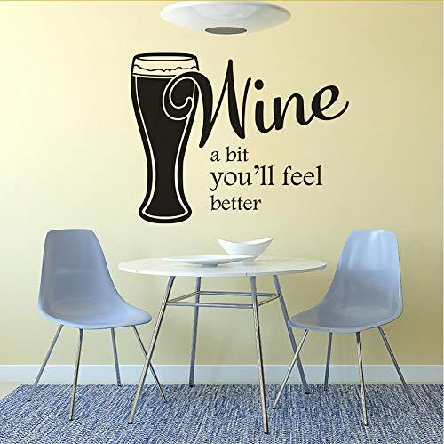Fenster Vinyl Aufkleber Wein Ein Bisschen Sie Werden Sich Besser Fühlen Zitat Wandtattoo Wein Bier Wandposter Abnehmbare Bar Küche Dekor 42X33Cm