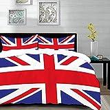 Ropa de Cama - Juego de Funda nórdica, Union Jack, Bandera Tradicional clásica Reino Unido Modern British Loyalty, Seafoam Blue and Whit, Juego de Funda nórdica de Microfibra con 2 Fundas de Almohada