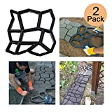 2 Pack Irregular DIY Pavement Mold Walk Maker Path Maker Brick Mold Concrete Form Pathmate Stepping Stone Molds for Concrete Mould Reusable for Garden, Court Yards, Patios and Walks, 17 x 17in