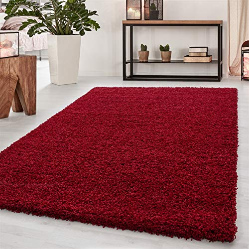 Abaseen Small Large Shaggy Modern Rug in 12 Different Colour and 4 Different Sizes (red, 160x230 cm (5'3''x7'7''))