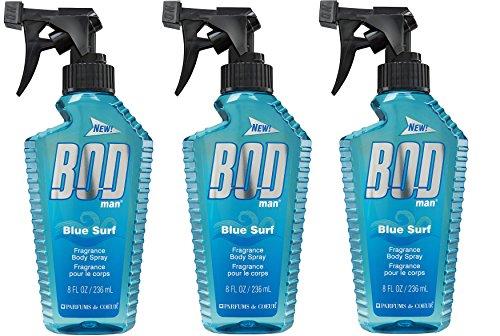 BOD Man Fragrance Body Spray, Blue Surf, 8oz 3 Pack