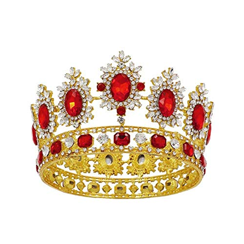 Earofcorn Bride King Size Crown Pageant Crowns Princess Tiara Retro Round Full Crown Bride Hair Accessories (Golden+Red(S))