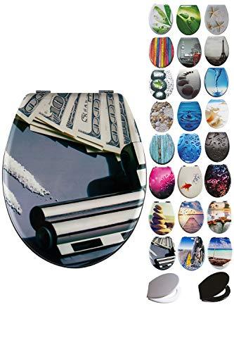 Grafner® MDF WC Sitz mit Absenkautomatik viele schöne Motive zur Auswahl - stabile Qualität - einfache Montage WC Deckel Klobrille Softclose (Money and Gun)