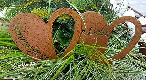 LB H&F 2 Stück Grabherz Rostherz Trauerherz mit Inschrift Grabschmuck Metall Herz für Gestecke - Grab zum stecken - witterungs frostbeständig